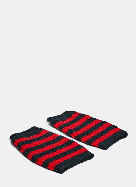 Striped Knit Hand Warmer Gloves