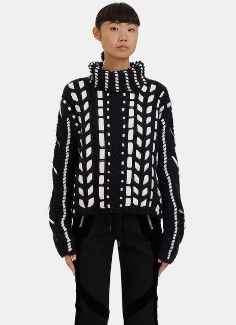 Caravan Leather Threaded Knit Sweater