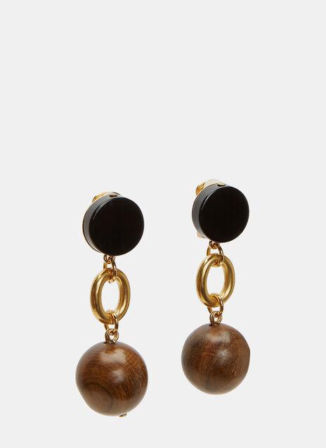 Wooden Sphere Pendant Drop Earrings