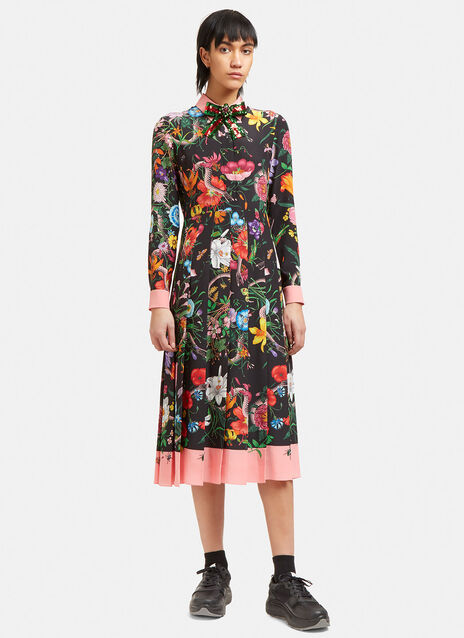 Wild Rose Flora Snake Pleated Shirt Dress
