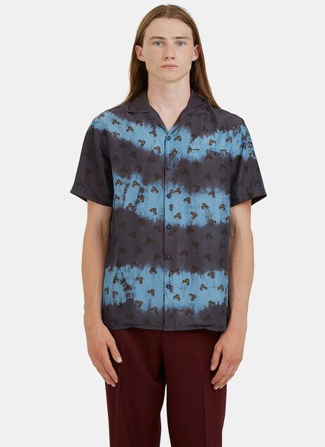 Tie-Dye Floral Printed Bowling Shirt