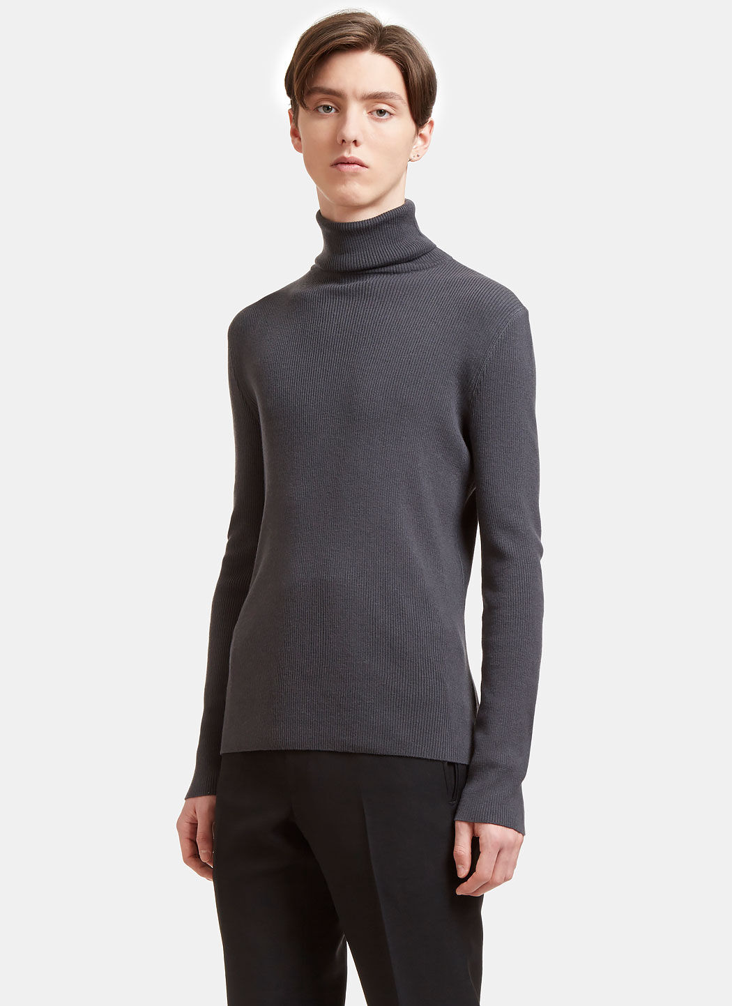 AIEZEN Men's Ribbed Polo Neck Sweater from SS15 in Grey