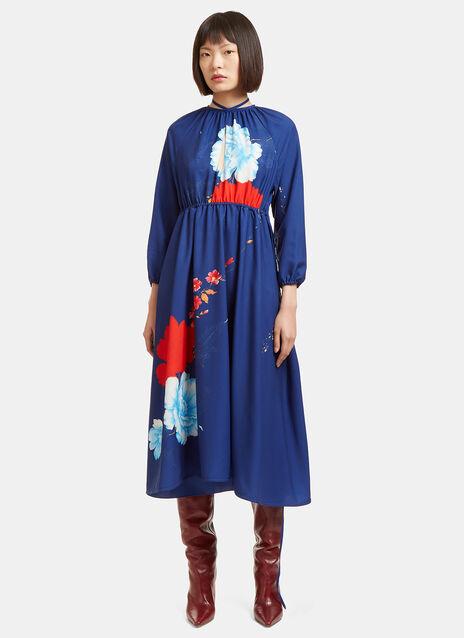 Mid-Length Wrap Skirt Flower Dress