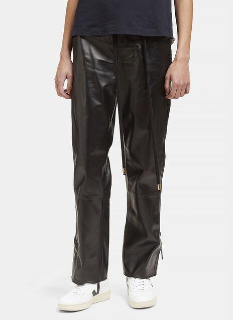 High-Waisted Leather Zipped Pants