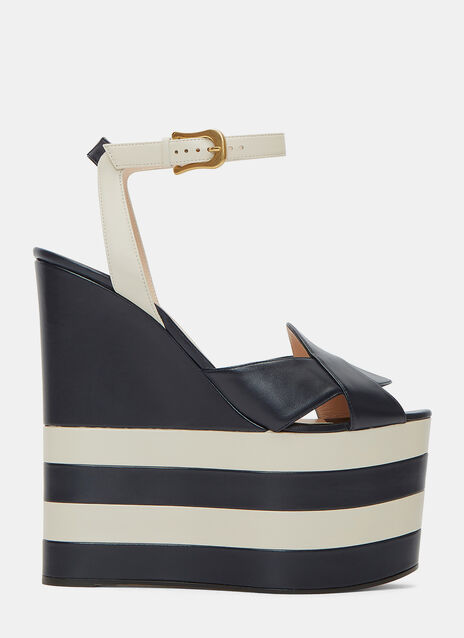 Monochrome Striped Platform Sandals