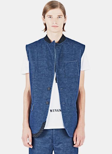Image of Aganovich Sleeveless Denim Look Jacket