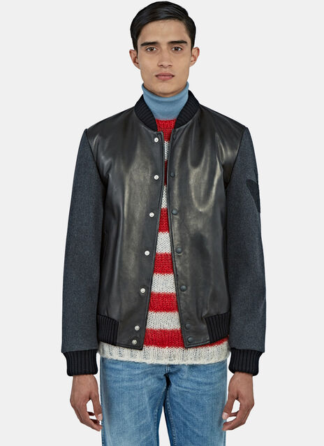 Embroidered Leather Bomber Jacket