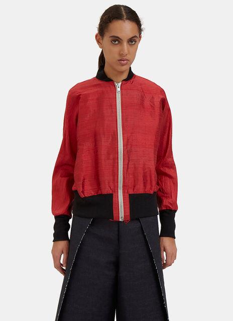 Raw Silk Bomber Jacket