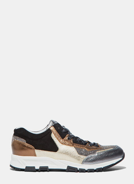 Metallic Leather Panelled Running Sneakers