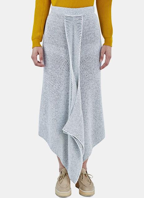 Asymmetric Bi-Colour Knit Skirt