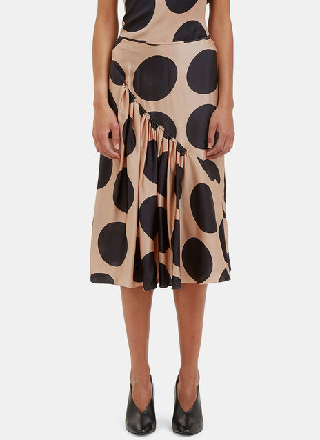 Polka Dot Asymmetric Ruched Skirt