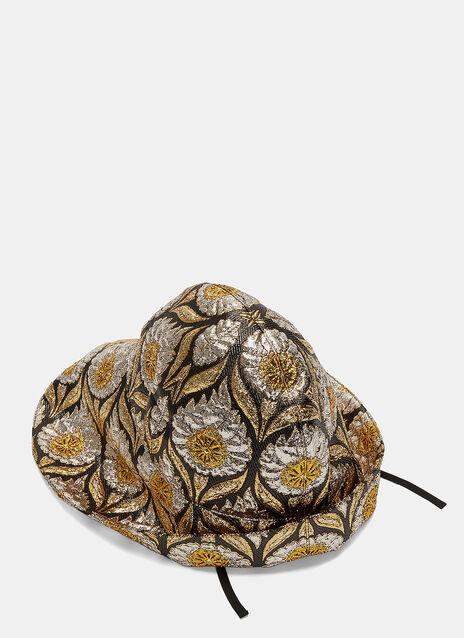 Wide-Brim Lurex Floral Jacquard Hat