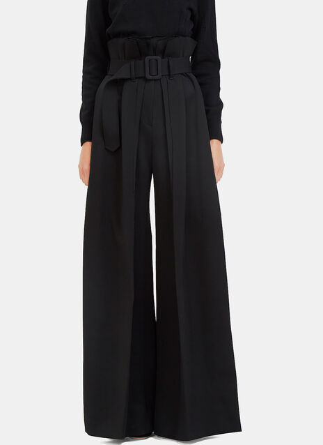 Torn High-Waisted Long Pleated Palazzo Pants