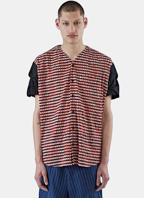 Oversized Plissé Checked Shirt