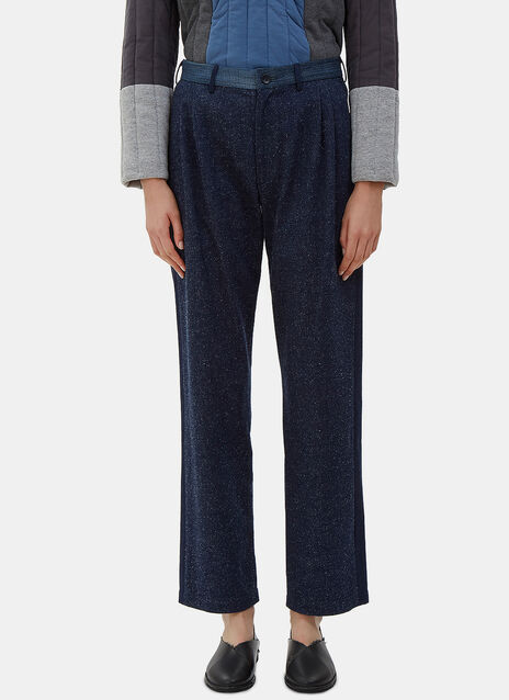 Front Pleat Denim Patchwork Pants