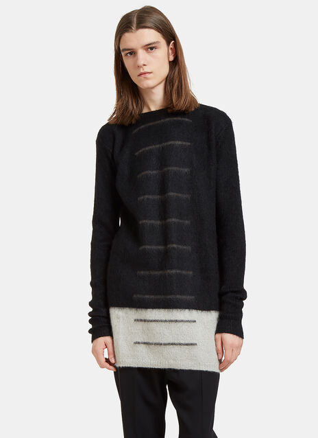 Oversized Faded Stripe Hairy Knit Sweater