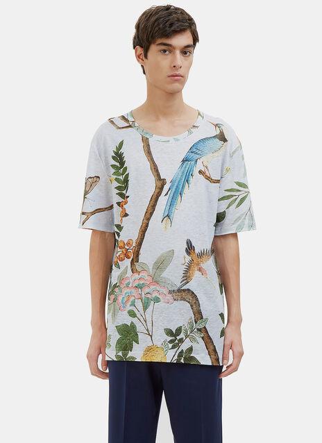 Oversized Printed Linen T-Shirt