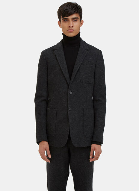 Single-Breasted Felted Blazer Jacket