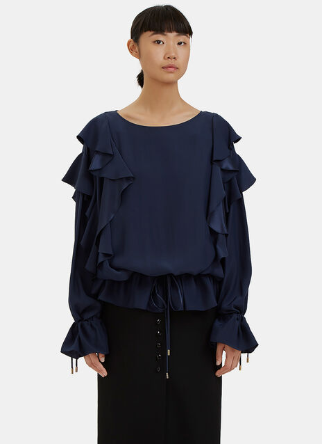 Oversized Ruffled Drawstring Top