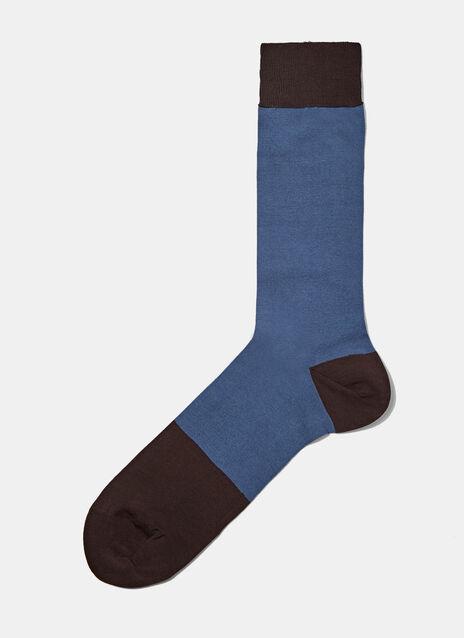 Bi-Colour Panel Knit Socks