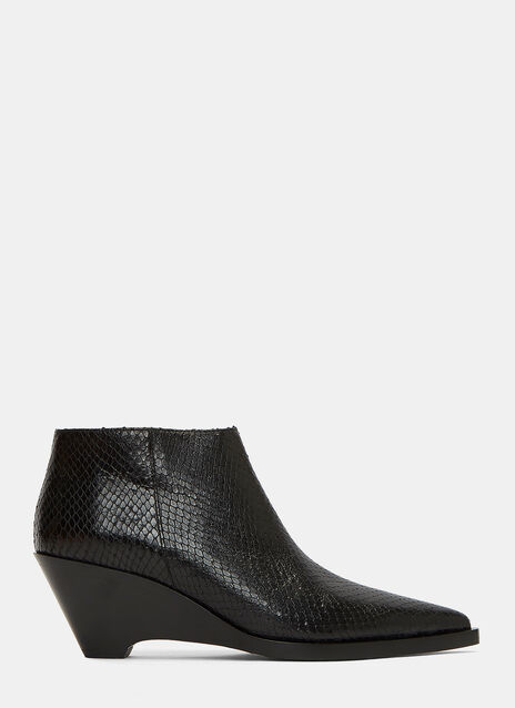Cammie Snake Slanted Heel Ankle Boots