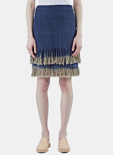 Woven Dip Dye Fringed Skirt