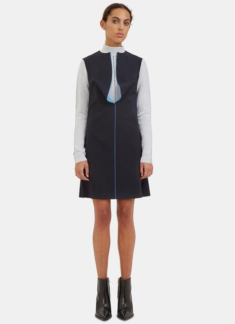 Bonded Overlocked Seam Draped Front Dress
