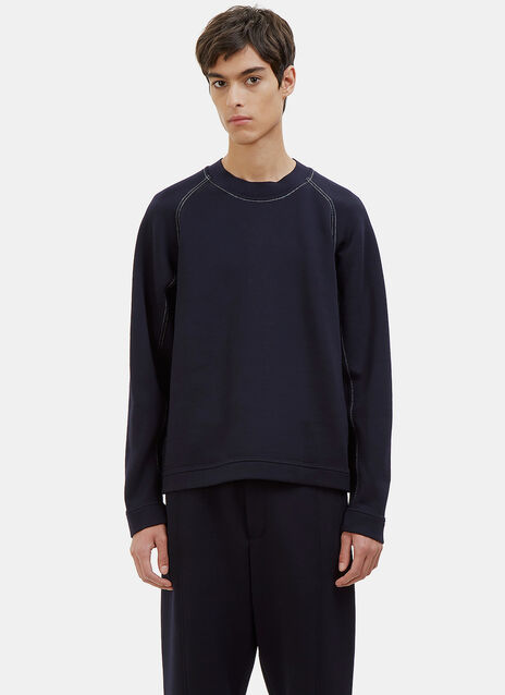 Contrast Stitched Crew Neck Sweater