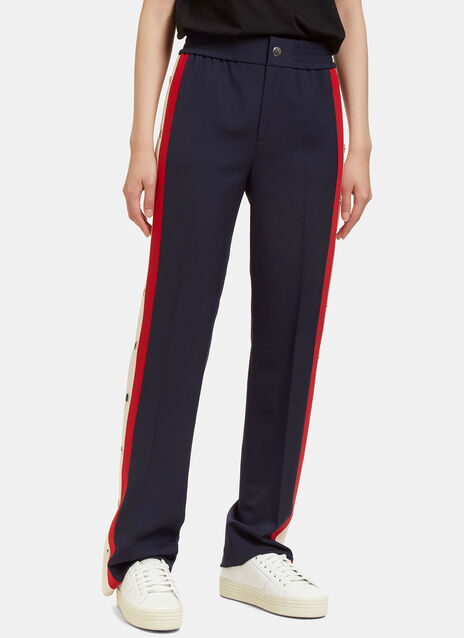 Striped Popstud Seam Track Pants
