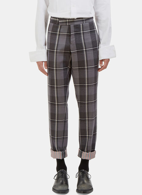 Distressed Winter Madras Checked Slim Leg Pants