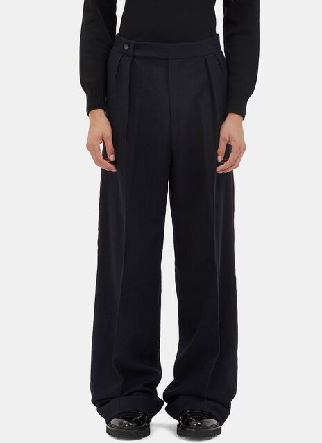 Serged Seam Pinstripe Wide Leg Pants
