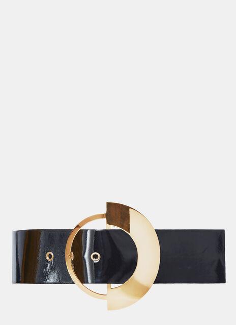 Wide Brass Buckle Belt