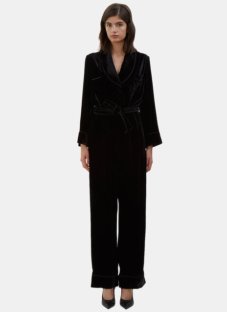 Wide Leg Velvet Jumpsuit