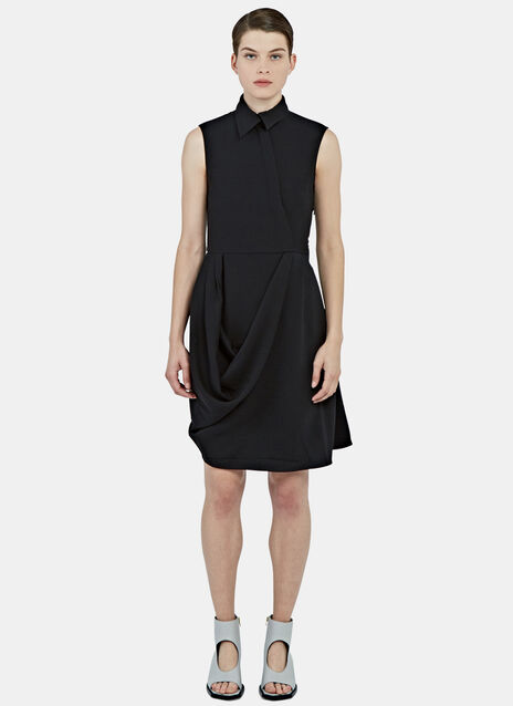 Draped Asymmetric Collared Dress