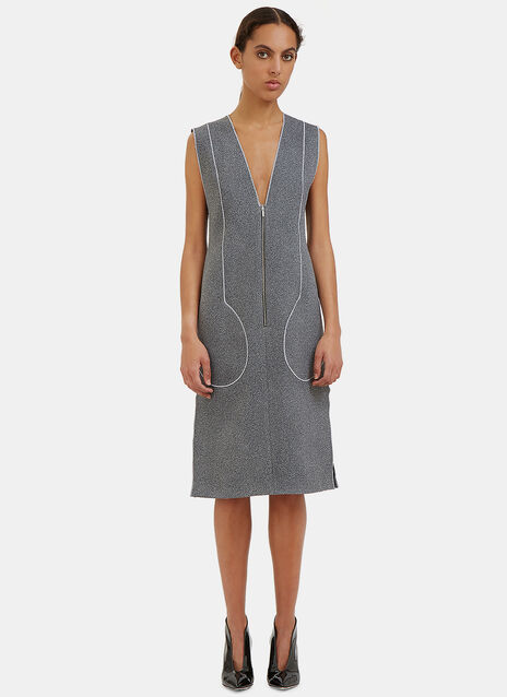 White Noise Overlocked Seam Pocket Dress
