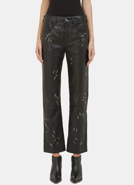 Stapled Leather Pants