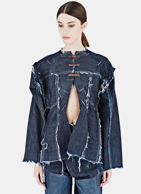 Cut-Out Frayed Denim Shirt
