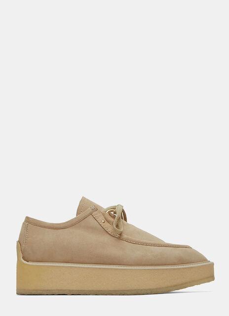 Faux Suede Platform Clipper Shoes