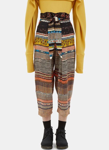 Oversized Patterned Dropped Crotch Knot Pants