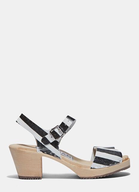 Wooden Heeled Clog Sandals