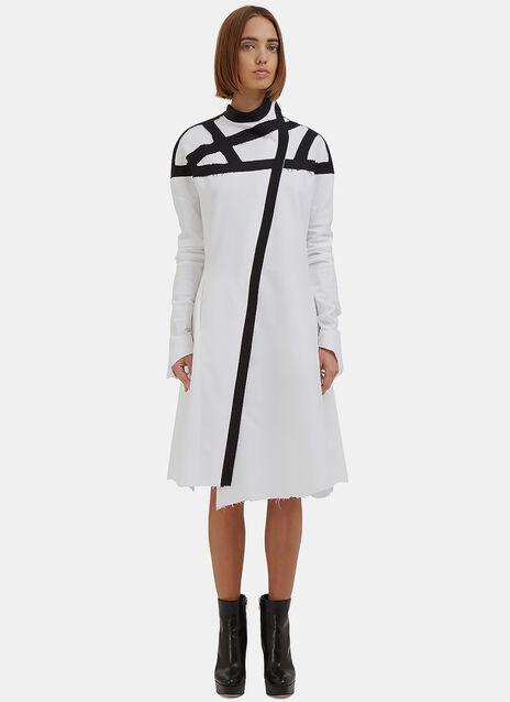 Webbed Raw-Edge Shirt Dress