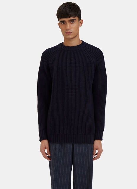 Raglan Sleeved Ribbed Knit Sweater