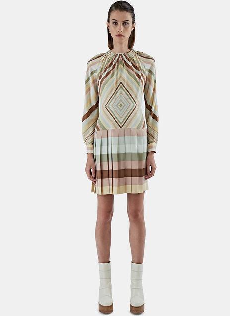 Pleated Skirt Striped Dress