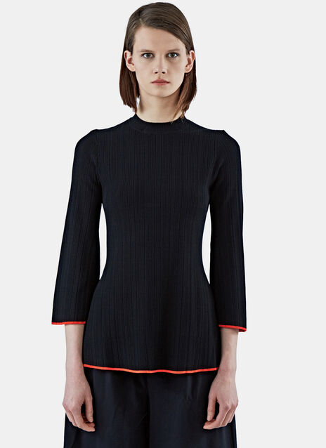 Flared Rib Knit Sweater