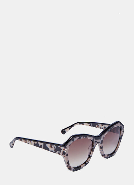 Oversized Angular Tortoiseshell Sunglasses