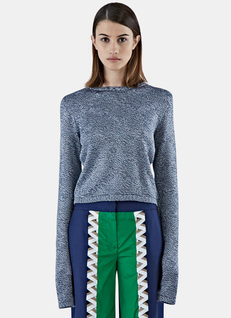Cropped Contrast Knit Sweater
