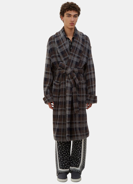 Checked Wool Cabanne Coat