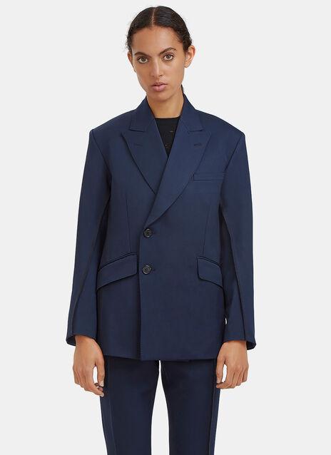 Double-Breasted Serged Stitch Blazer Jacket