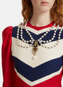 Chevron Striped Jewel Embellished Dress