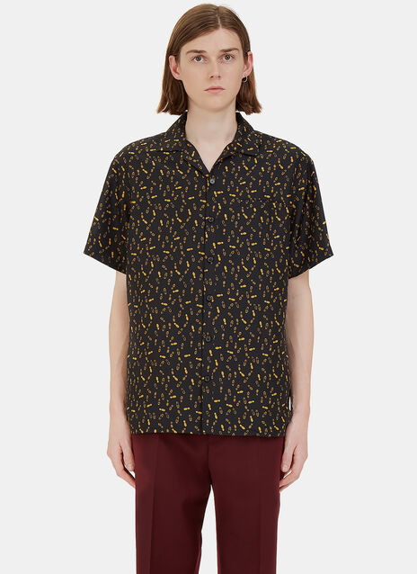 Lanvin Short Sleeve Bowling Shirt Mixed Fabrics